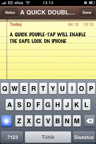 Caps Lock in iPhone Notes