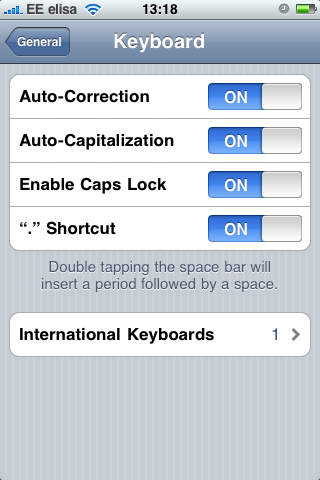 Enabling Caps Lock from the iPhone Settings