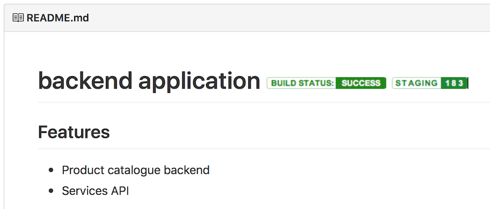 Application build and deployment badges