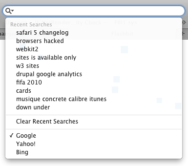 Yahoo and Bing added to Safari 5